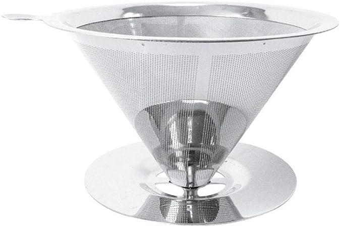 Pour Over Filtro de café, acero inoxidable Cono Cafetera Dripper Reutilizable Permanente Pour Over Cafetera eléctrica Large: Amazon.es: Hogar