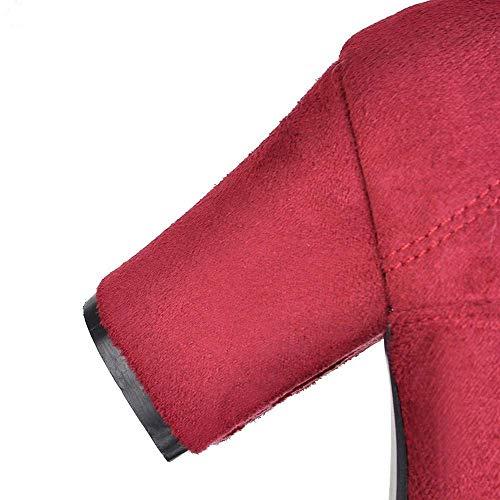 Scarpe Scarpe Punta 7 Thick Womens Womens ZHRUI a Up Solid Rosso Flock Lace Dimensione High Colore Square UK Stivaletti Rotonda Blu 1z4wqgq