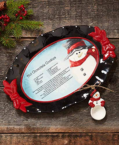 MattsGlobal Shop Decorative Snowman Tabletop Collection - Ceramic - Dress Up Table for The Holidays (Recipe Platter) -