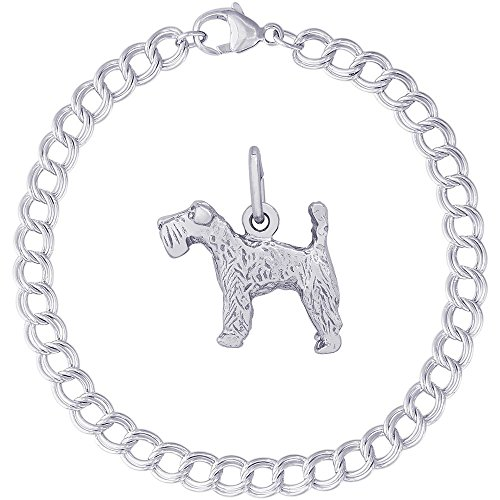 Terrier Kerry Blue Charm Dog (Rembrandt Charms Sterling Silver Kerry Blue Terrier Charm on a Double Link Bracelet, 7