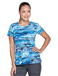 Dickies Fashion Prints by Women's V-Neck Abstract Print Scrub Top