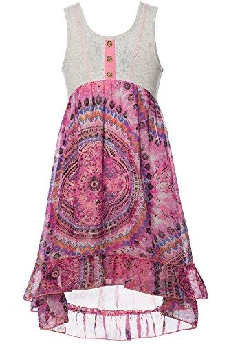 Bat Mitzvah Dress - Truly Me Big Girls Tween Long Sleeve Chiffon Dress, 4-6X, 7-16 (16, Pink Multi)