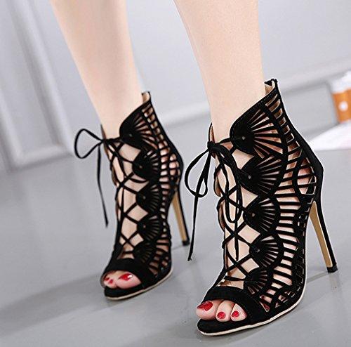 Toe Soirée Kaitzen Sandales Haute Bottes Mode Peep Talons Chaussures Cour Dames Pompe Strap Strappy Stiletto Femmes Cheville Mode 4xxpwEq1