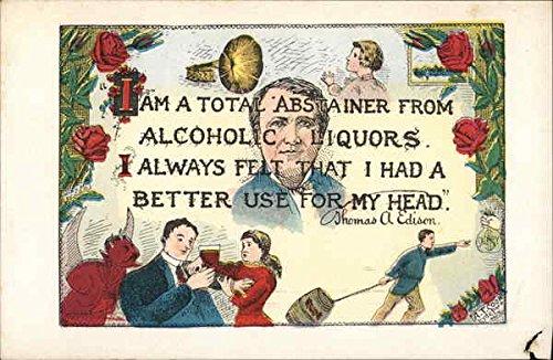 People Drinking Wine and a Man Pulling a Keg of Beer Poems & Poets Original Vintage Postcard