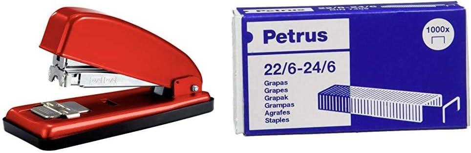 PETRUS 44793 - Grapadora para oficina gama Clásica modelo 226 color rojo + Grapas- Caja de 1000 grapas de 22/6 - 1 caja, 55723