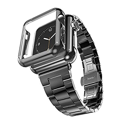 Apple Watch Band, Aokay Ultra-thin( 0.2 cm ) Stainless Steel Metal Watchband Strap W/Polycarbonate Hard Protective Bumper Case for Apple Watch