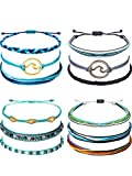Chuangdi 12 Pieces Wave Strand Bracelet Set Handmade Adjustable Friendship Bracelet Handcrafted Jewelry Women (Style 1)