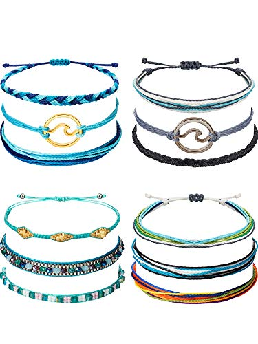 Chuangdi 12 Pieces Wave Strand Bracelet Set Handmade Adjustable Friendship Bracelet Handcrafted Jewelry Women (Style 1) ()