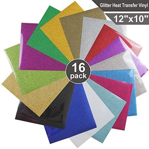 Glitter Heat Transfer Vinyl HTV for T-Shirts 12 Inches by 10 Feet Rolls (16 Pcs) 12' Blade Poly Handle