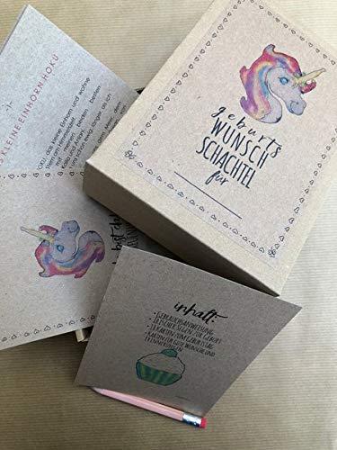 Geburts Wunsch Schachtel Einhorn - 61 hochwertige Geburtstagskarten in einer liebevoll gestalteten Box