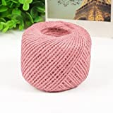 yodaliy 50M Colorful Textured Hessian Jute Twine String 2MM 1-Ply Burlap Natural Fiber Jute Twine Rope Cord String for Gifts, DIY Crafts, Arts, Gardening(Pink)