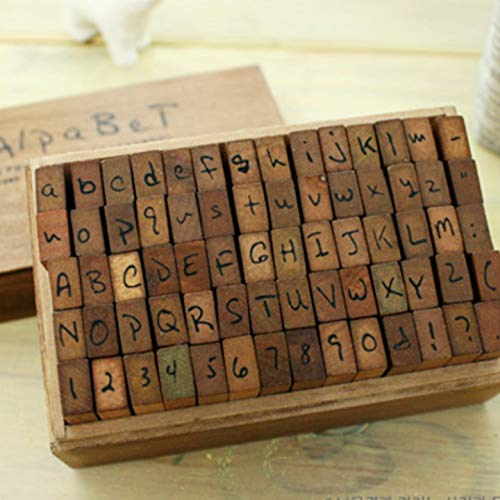 Alphabet Rubber Stamps - Handwritten Font - Antique-Style Wooden Box - Uppercase + Lowercase + Numbers + Symbols ()