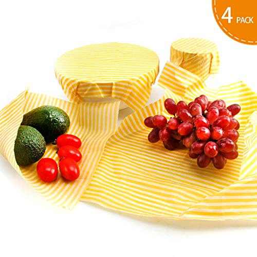 Beeswax Wrap 4 Pack Plastic Free Reusable Food Wraps Keep Food Fresh, Eco Friendly Food Storage - FDA Approved,Washable,Sustainable (1 Small,2 Medium, 1 Large) by DALUZ
