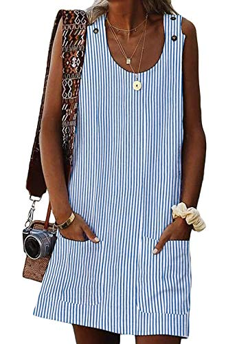 - BTFBM Women Scoop Neck Sleeveless Button Tank Top Striped Casual Summer Shirt Short Dress with Two Front Pockets (Stripe 1 - Blue, Small)