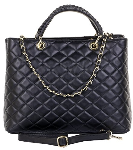 Quilted Chain Handbag (Primo Sacchi Italian Quilted Leather Large Black Shoulder Bag Handbag)
