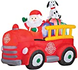 Gemmy Airblown Inflatable Santa Driving Vintage Fire Truck - Holiday Decorations, 6-foot Long x 5-foot Tall