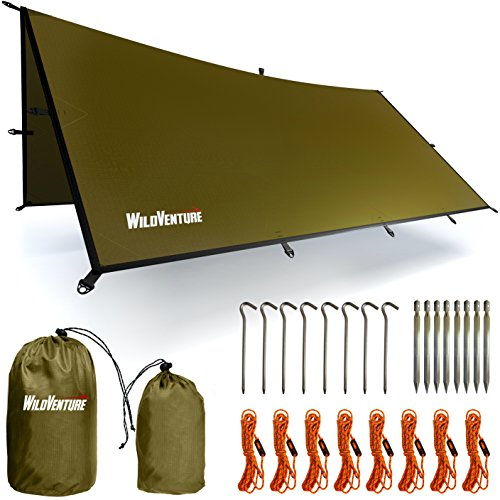 WildVenture Rain Fly Tent Tarp - Waterproof Lightweight Survival Gear Shelter for Camping, Hiking, Backpacking, Hammock, and Outdoor Living - 9.8' x 9.3'
