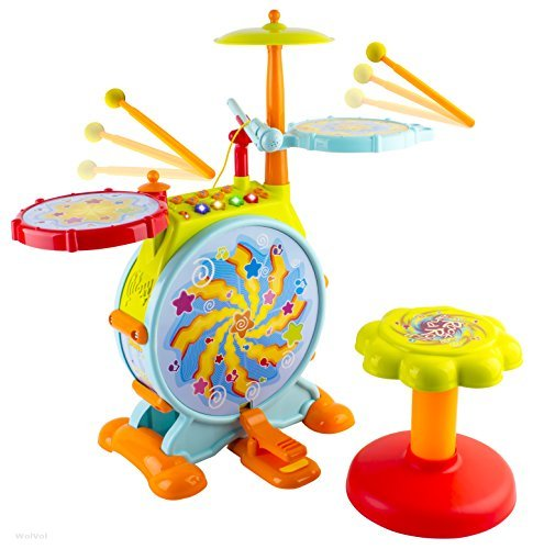 WolVol Electric Big Toy Drum Set for Kids with Movable Working Microphone to Sing and a Chair - Tons of Various Functions and Activity, Bass Drum and Pedal with Drum ()