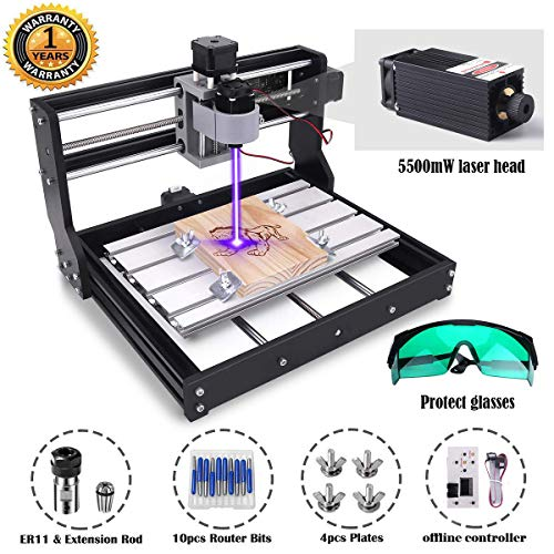 MYSWEETY DIY CNC 3018-PRO 3 Axis CNC Router Kit with 5500mW 5.5W Module + PCB Milling, Wood Carving Engraving Machine with Offline Control Board + ER11 and 5mm Extension Rod