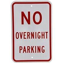 "SmartSign 3M Diamond Grade Reflective Aluminum Sign, Legend ""No Overnight Parking"", 18"" High X 12"" Wide, Red on White"