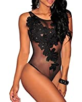 Cfanny Women's Sexy Floral Sheer Mesh Sleeveless Bodysuit Clubwear Top