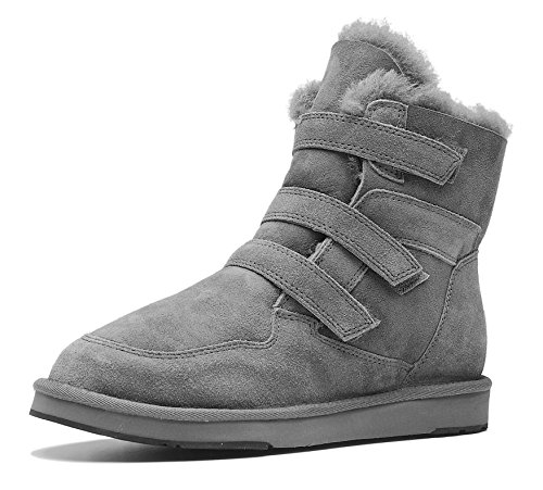 AU&MU AUMU Women's Suede Sheepskin Winter Snow Boots Grey Size 8 by AU&MU