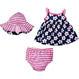 Gerber Baby Girls' Sundress, Bloomer and Hat Set