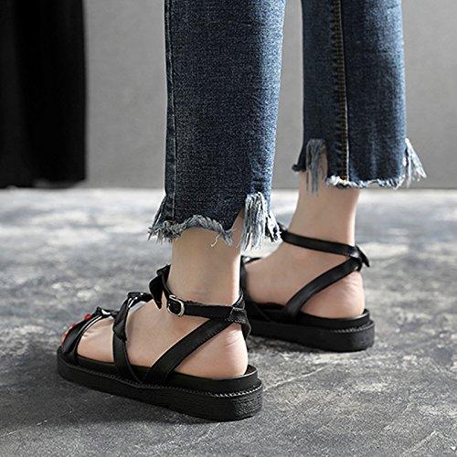viaggio estive alla YMFIE sandali e black donna da per Sandali vacanze pelle le casual comode moda in da di FFq8wavg