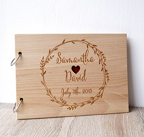 Wedding guest book, rustic guest book, wooden wedding guest book album, personalized custom laser engraved guest - Album Wooden Wedding