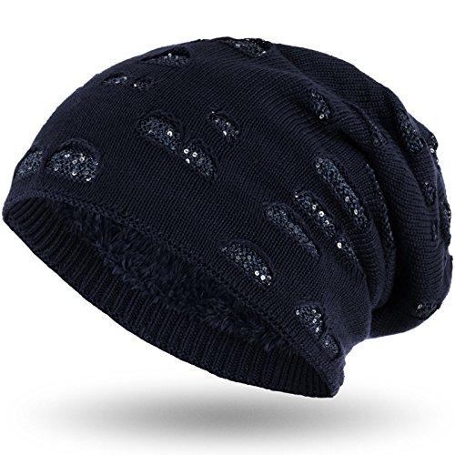 elegante suave invierno Beanie Marino punto de con con interior Gorro agujero Compagno Azul lentejuelas 4awCq