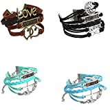 JOVIVI Multilayer Charm Infinity Love Best Friend Wish Wrap Cuff Bracelet ,2pc
