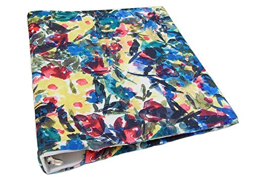 3 Ring Binder Cover in BRIGHT FLOWERS Stretch Fabric