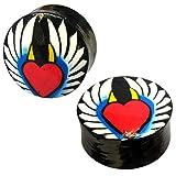 Chic-Net wood plug Heart Wing Angel Devil Horns Teak Black Yellow Red Tunnel Unisex Earrings Chips