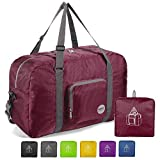 WANDF 22' Foldable Duffle Bag 50L for Travel Gym Sports Lightweight Luggage Duffel, Wine Red