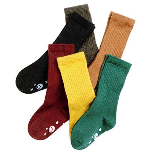 VWU 6 Pack Little Girls Boys Tube Socks Knee High Socks 1-8 years (S (1-3 years)) -