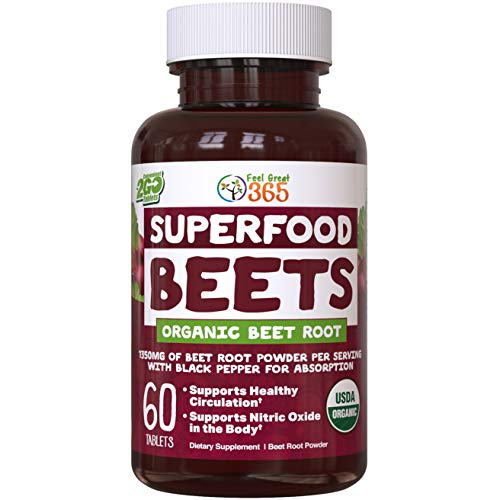 USDA Organic Superfood Beet Root Powder by Feel Great 365   Beetroot Nitric Oxide Supplement with Natural Nitrates for Increased Natural Energy*   Non-GMO and Vegetarian Organic Circulation Tablets*
