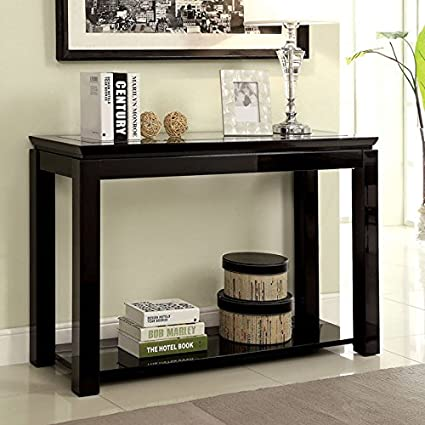 24/7 Shop at Home Venta Contemporary Style Black Finish Sofa Table