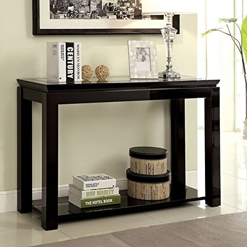 Finish Lacquer Black - Venta Contemporary Style Black Finish Sofa Table