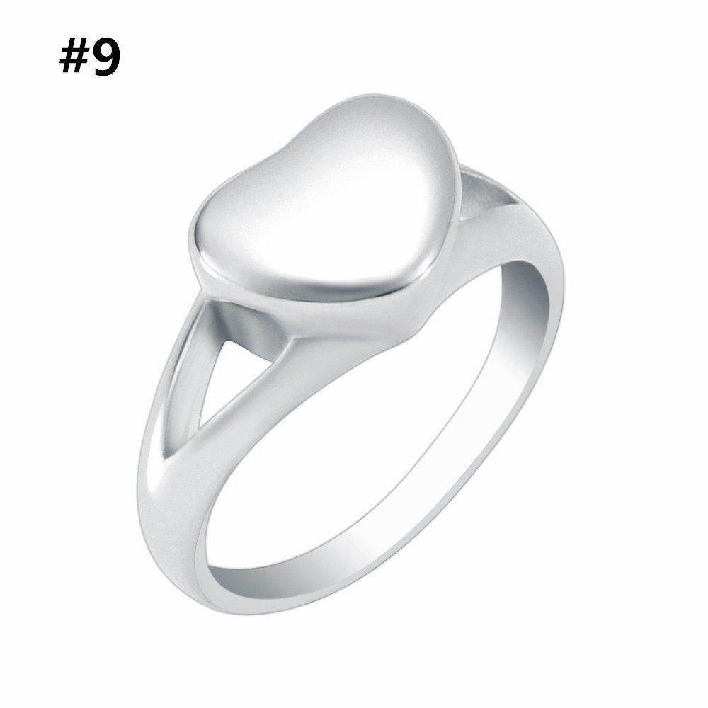 Love Heart Memorial Urn Ring Ash Holder Keepsake Jewelry Stainless steel Cremation Ring Women and Men (#9)