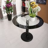 Hawastar Round Tempered Clear Glass Dining Table Kitchen Furniture Black Dining Room