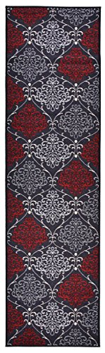 """Damask Trellis Design Runner Rug For Kithcen Hallway Laundry Room Entry 3 Different Color Options Slip Skid Resistant Rubber Backing (Charcoal Black, 1'11"""" x 7') - Made in Turkey 