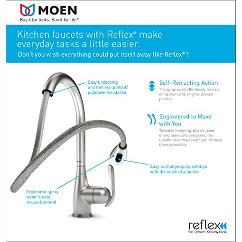 low-cost Moen 5985CSL Brantford One-Handle High Arc Pulldown Bar Faucet Featurng Reflex, Classic Stainless