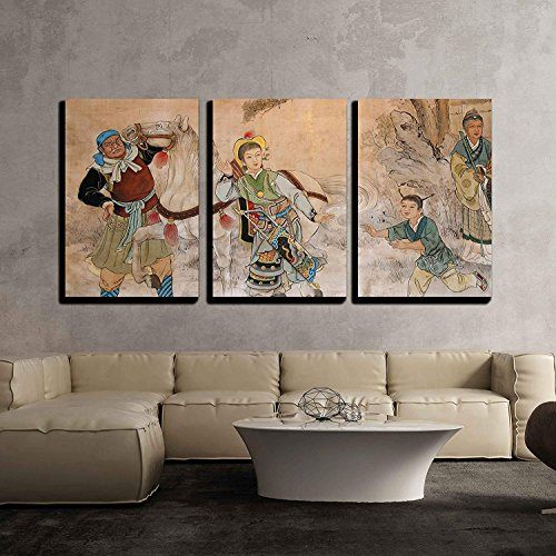 Chinese Classic Wall Drawing x3 Panels