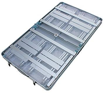 KLB Sport Aluminum Portable Folding Picnic Table w 4 Seats Storage Net silver