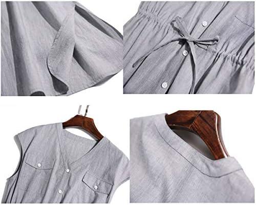 女性のドレス大きいサイズのドレスコットンVネックノースリーブビッグスウィングドレス柔らかくて快適なドレス(ホーム、パーティー、旅行、デート)