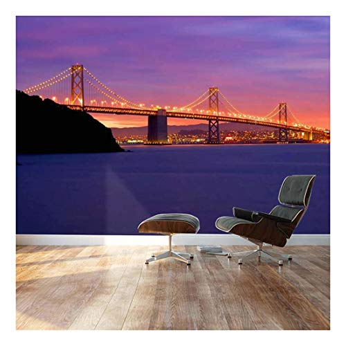 wall26 - San Francisco Bay Golden Gate Bridge - Landscape - Wall Mural, Removable Sticker, Home Decor - 100x144 inches