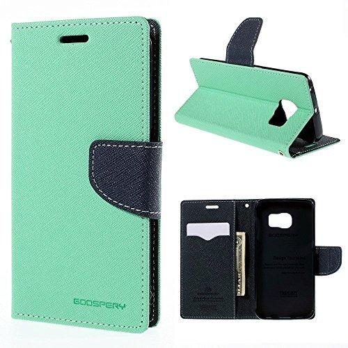 bestbuy-24 Flip-case bookstyle fancy mercury für smartphone handy Samsung Galaxy-A3 2016 (A310), Hülle Etui Magnetverschluß, mint-grün