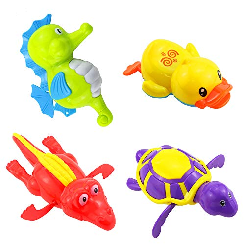 Heatoe 4 Pcs Children's Bath and Water Toys, Bathroom Tub Pool, Cute Swimming Turtles & Ducks & Hippocampus & Crocodiles, Baby Toys, Random Colors.