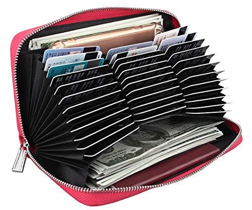 Easyoulife Womens Genuine Leather Credit Card Holder Wallet RFID Secure 36 Slots (36 Card Slots - Rose)