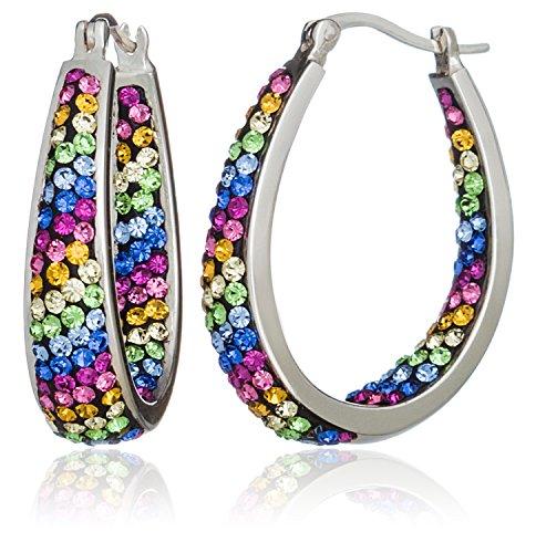 Carly Creations Women's Silver Plated Multi Crystal Rainbow Stripe Hoop - Stripe Ornament Ball